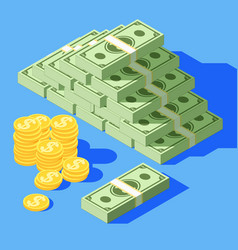 big stacked pile cash hundreds dollars vector image