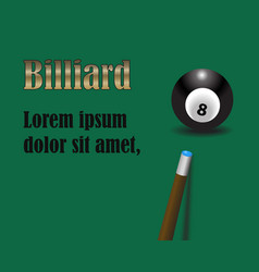 billiard cue aiming on black billiard ball number vector image