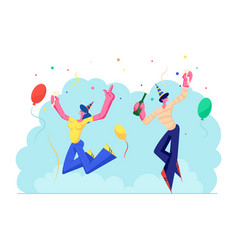 birthday party celebration people in festive hats vector image