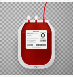 Blood bag with label realistic vector