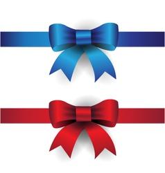 Blue red ribbon bows vector