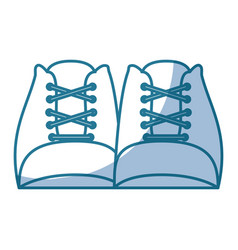 Blue silhouette shading of front view shoes with vector