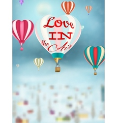 Bright balloon flying over Village EPS 10 vector image