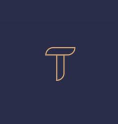 Brown blue line alphabet letter t logo company vector