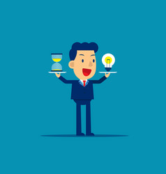 Business man holding hourglass and money concept vector