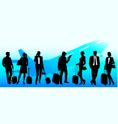 Business travel people at the airport global team vector