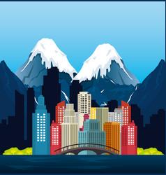 Canadian landscape scene and cityscape vector