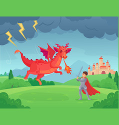 cartoon fairytale knight fights dragon swordsman vector image