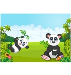 Cartoon mom and baby panda climbing bamboo tree vector