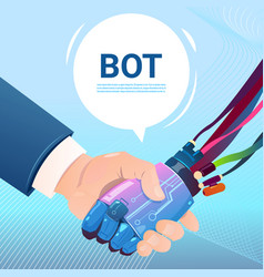 Chat bot hand shaking with people robot virtual vector