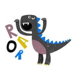 childrens drawing of scary growling dinosaur flat vector image