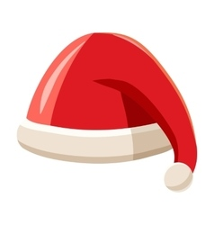 Christmas red hat with pompom of Santa Claus vector