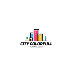 city colorful logo design vector image