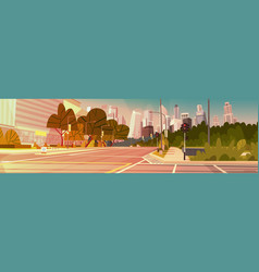 city street skyscraper buildings road view modern vector image
