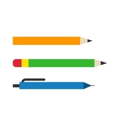 color pencils and pen vector image
