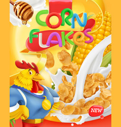 Corn flakes rooster mascot honey and milk vector