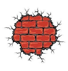 Cracked birck wall vector