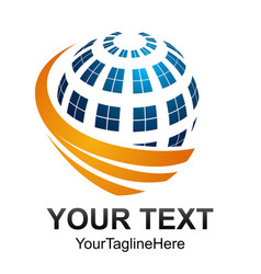 creative abstract digital sphere technology logo vector image