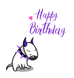 cute cartoon dog white bull terrier and vector image