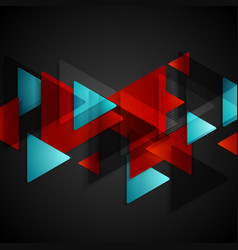 Dark tech background with red blue triangles vector image