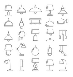 different modern lamps in vector image