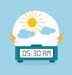 Digital clock alarm morning cloud sun vector