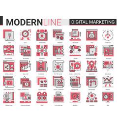 digital marketing complex red black flat line vector image