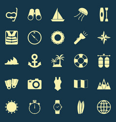 Diving color icons on blue background vector