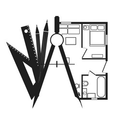 drawing compasses with pencils and a house plan vector image