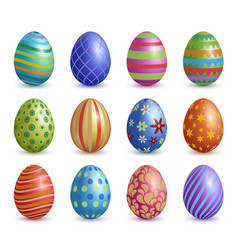 easter eggs colored floral graphic decoration for vector image