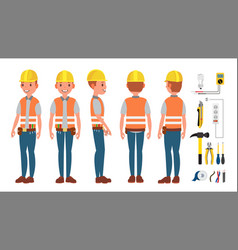 electrician worker male makes electrical vector image