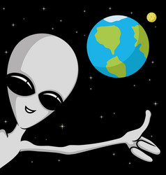 Extraterrestrial alien in space vector
