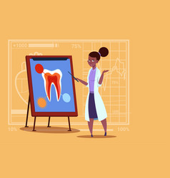 female african american doctor dentist looking at vector image