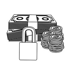 Figure many cash money with padlock security vector