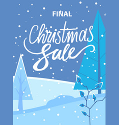 final christmas sale promotional poster discount vector image