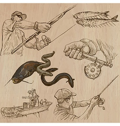 Fishing - An hand drawn pack vector image