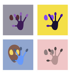Flat icon design collection alien and hand vector