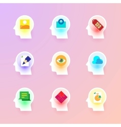Flat icons collection on the human brain vector