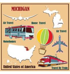 Flat map of Michigan vector image