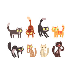 flat set different cats funny cartoon vector image