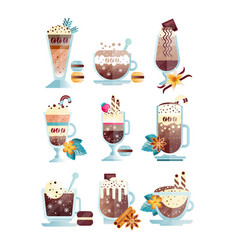Flat set of tasty coffee drinks in vector
