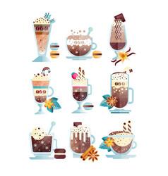 flat set of tasty coffee drinks in vector image