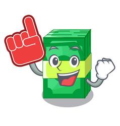 Foam finger set money in packing bundles cartoon vector