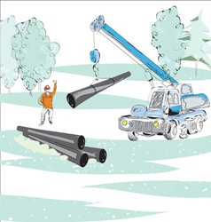 Gas Pipe Winter Scene vector image