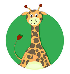 giraffe cartoon flat icon vector image