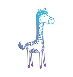 giraffe cartoon in degraded blue to purple color vector image