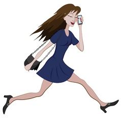 Girl running with a bag and phone vector