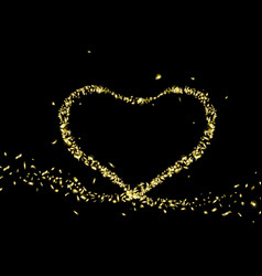 Gold foil in shape a heart valentines day vector