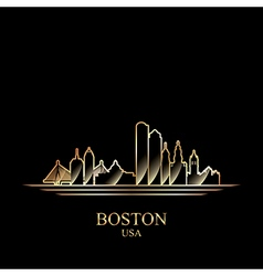 Gold silhouette of Boston on black background vector image