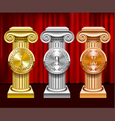 gold silver and bronze ancient columns and round vector image